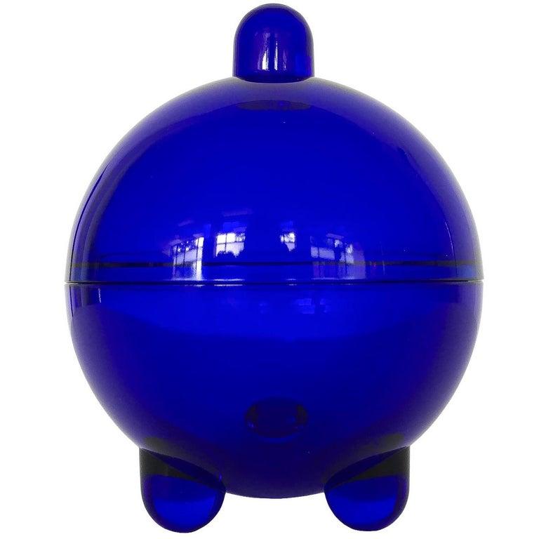 V. Nason Cobalt Blue Glass Modernist Covered Candy Dish