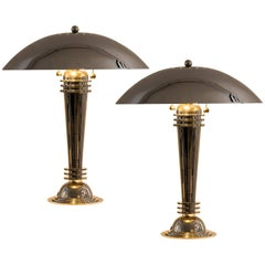 Art Deco Table Lamps Vintage from 1925 Brass, Nickel-Plated