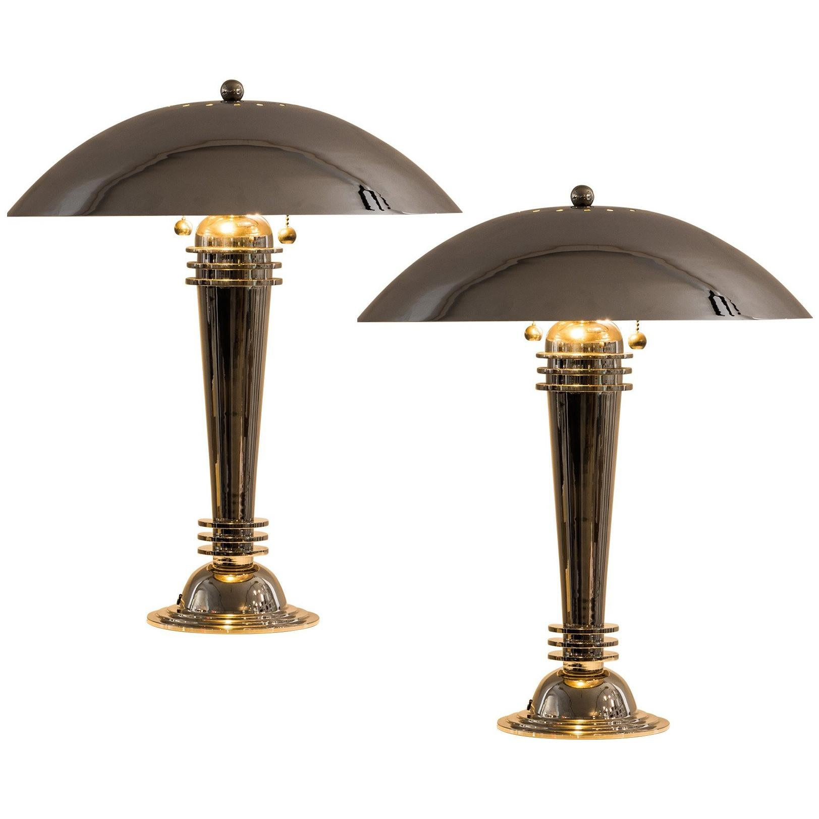 Art Deco Table Lamps Vintage From 1925 Brass, Nickel Plated For Sale