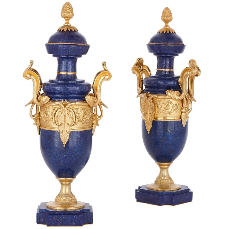 Pair Of Blue Lapis Lazuli And Bronze Tall Vases With Flare Top For