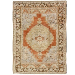 Vintage Turkish Oushak Rug in Light Orange, Light Blue, Gray and Brown
