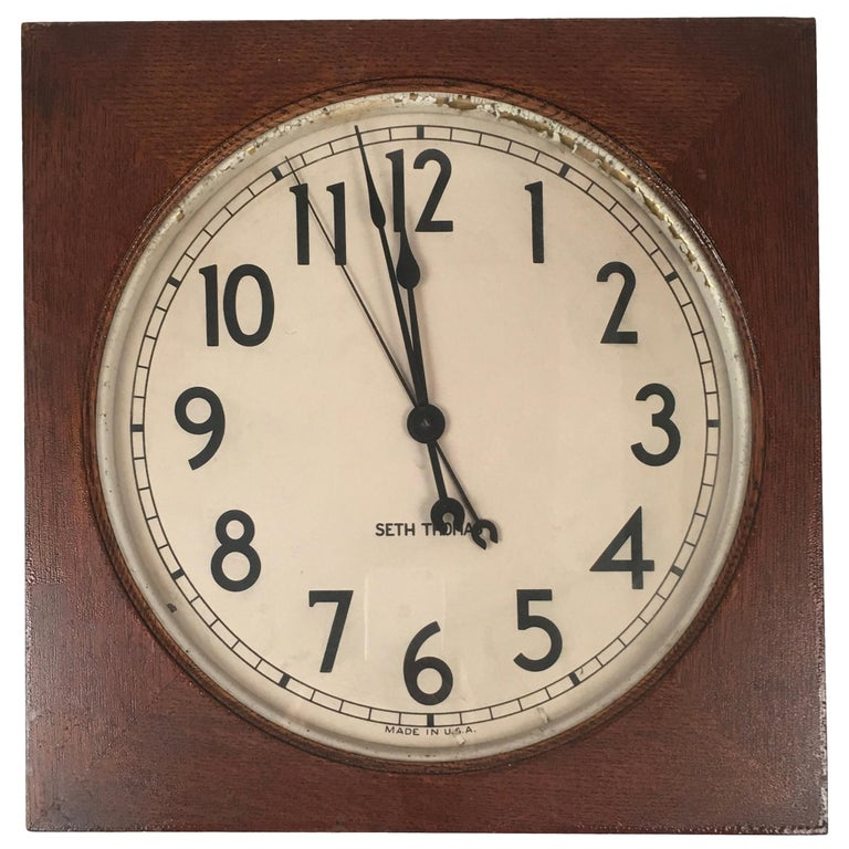 Seth Thomas Oak Electric Wall Clock
