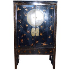 19th Century Chinese Black Lacquered Wedding Cabinet with Gilt Butterflies