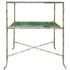 Two-Tier Glass and Bronze Faux Bamboo Table, Attributed to Maison Baguès