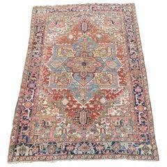 Antique Persian Heriz Carpet Light Natural Colors Light Green Corners