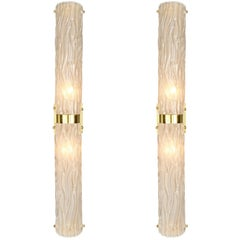 Frosted Glass and Brass Murano Sconces