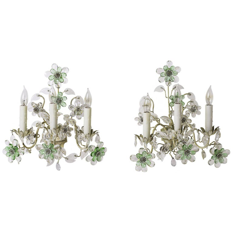 Pair of French Crystal Flowers Sconces, circa 1940 For Sale