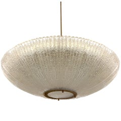 Large Fluted Glass Chandelier by Venini, 1960s