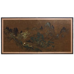 Japanese Four Panel Landscape Byobu Screen