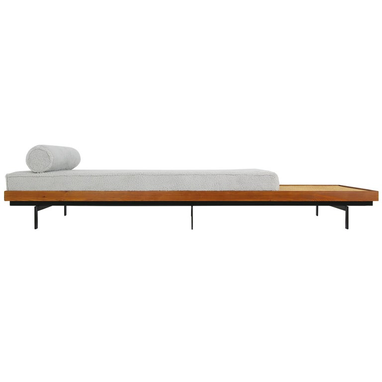 Nathan Lindberg Long Daybed Mod NL 31L Sofa, Siberian Larch Wood, Steel and Cane