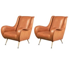 Pair of Important Leather Armchairs, France, 1950s