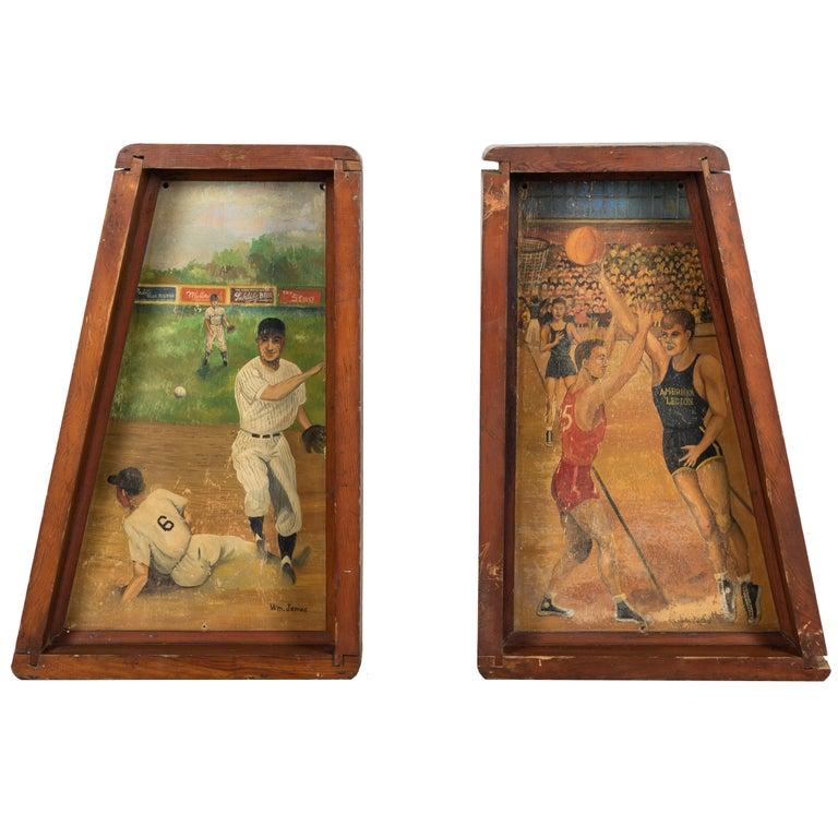American Legion Baseball and Basketball Folk Art Paintings