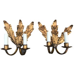 Pair of Midcentury Gilt Metal Two-Arm Sconces