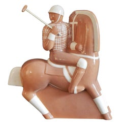 """Polo Player,"" Classic and Rare Art Deco Sculpture in Caramel Hue by Gregory"