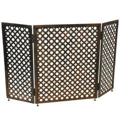 Mid-Century Modern Moroccan Style Patinated Iron Folding Fireplace Screen
