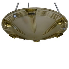 Art Deco Glass Pendant Light Fixture, French, circa 1920