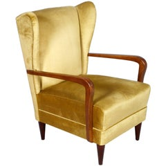 Gio Ponti Late 1930s Vintage Italian High Back Armchairs in Light Yellow Velvet