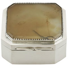 1781 Antique Georgian Sterling Silver and Hardstone Box