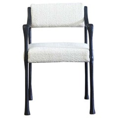Giac Dining Chair with Aluminum Hand-Patinated Frame Contemporary Seating