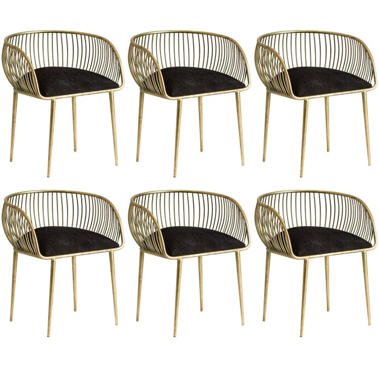 Set of Six Brass and Black Fabric Dining Armchairs