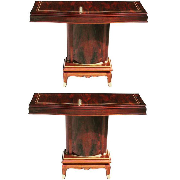 Pair of French Art Deco Palisander Console Tables by Jules Leleu, circa 1930s For Sale