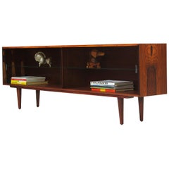 Danish Modern Low-Profile Rosewood Bookcase with Glass Doors