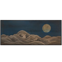 "Japanese Two-Panel Screen ""Moon Over Rocky Coastline"""