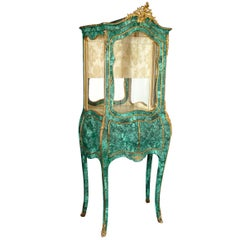Large Antique French Louis XVI Gilt Bronze-Mounted Malachite Vitrine Cabinet