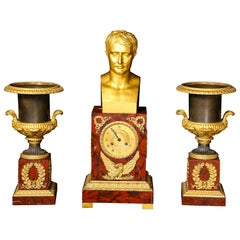 Antique French Empire Gilt Bronze, Patina Bronze and Marble Napoleon Clock Set