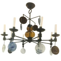 Wrought Iron Chandelier with Molded Glass Pendants