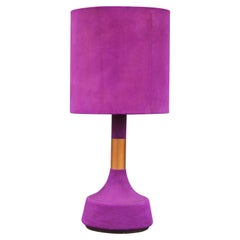 Monumental Modern Vibrant Pink or Purple Suede Copper and Brass Table Lamp