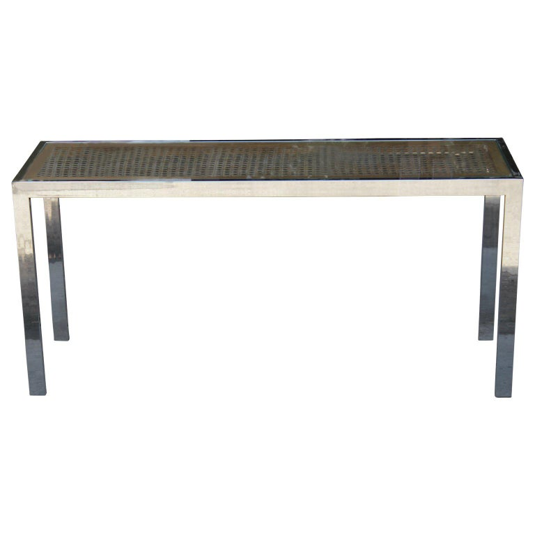Mid-Century Modern Milo Baughman Style Chrome Cane & Glass Console / Sofa Table
