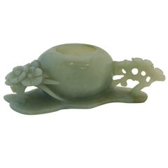 Chinese Jade Brush Washer with Openwork Carving