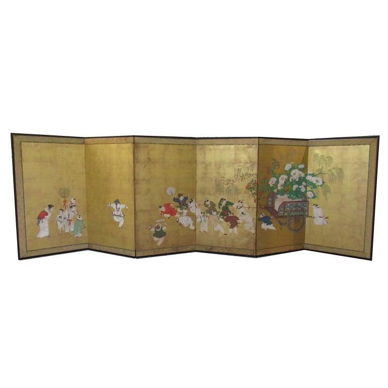 Japanese Edo Period Six-Panel Painted Screen