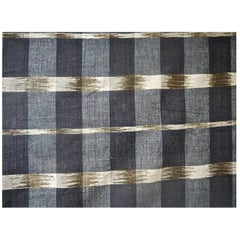 Indigo Ikat Flamme Cotton Panel, French, 19th Century