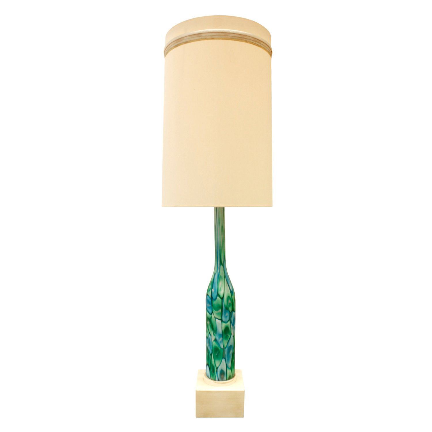 Fratelli Toso Large Table Lamp with Green and Blue Murrhines, 1950s
