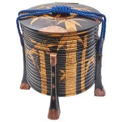 "Japanese Black Lacquer Ribbed Circular ""Hokai"" Box and Cover, Edo Period"