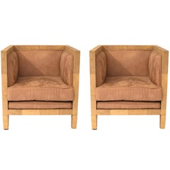 Style Jean Michel Frank, Pair of Armchairs, Shagreen, France, circa 2000