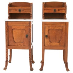 Pair of Oak Dutch Art Nouveau Nightstands, 1900s