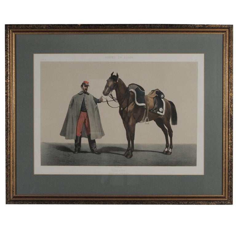 French Military Hand Colored Engraving, Dated 1859 For Sale