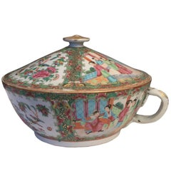 Antique Chinese Rose Medallion Chamber Pot, Early 19th Century