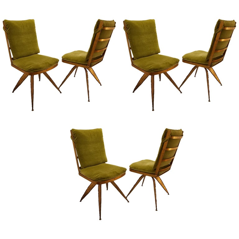 Striking Brutal Dining Chairs Set of Six Torch Cut Steel in Gold Leaf Finish For Sale