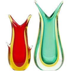 Murano Sommerso Red Yellow Green Italian Midcentury Art Glass Flower Vases
