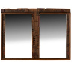 Paul Evans Style Brutalist Mirror by Lane