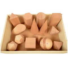 Box Containing 14 Geometric Solids Made of Wood Made in Italy in the 1960s