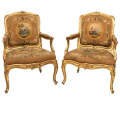 Pair of 19th Century Rococo Style Bergères