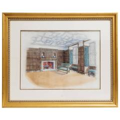Watercolor of Interior Room Attributed to B. Carpenter