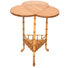 Faux Bamboo Drop-Leaf Clover Side Table