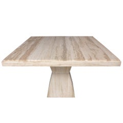 Mid-Century Modern Square Travertine Table