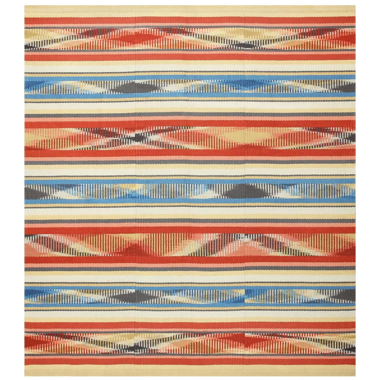 Beautiful Square Vintage Swedish Kilim Rug. Size: 7 ft x 7 ft 7 in